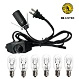 Salt Lamp Cord and Bulbs,Himalayan Salt Lamp Replacement Cord with Dimmer Switch,Original UL-Listed Cord Bulb Replacement for Salt Rock Lamp with 6 pack 25w E12 light Bulbs (One cord+6 bulbs)