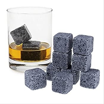 Whiskey Stones - Gift Set of 9, Velvet Freezer Bag, Reusable 100% Soapstone Whiskey Ice Cubes, Wine, Beer - No Diluting, Whiskey Rocks Chill Stones Whisky Stones Chilling Rocks (Set of 9 Stones)