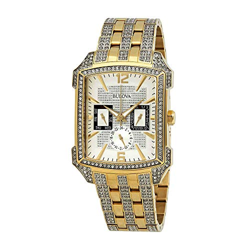 - Bulova Men's  98C109  Swarovski Crystal Pave Bracelet Watch