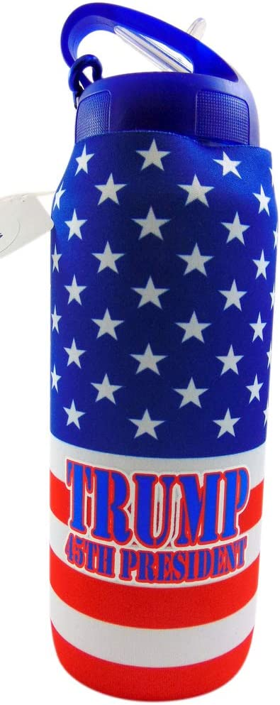 Westmon Works Donald Trump Water Bottle Plastic with Neoprene Exterior Sleeve Patriotic Sports Drinking Container