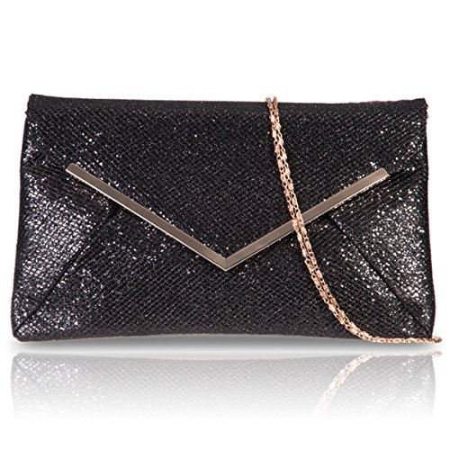 Xardi London sintetico glitter da donna damigella d onore pochette piatta busta Prom Evening party Bags Black