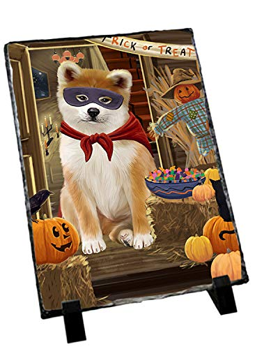 Slate Akita (Doggie of the Day Enter at Own Risk Trick or Treat Halloween Akita Dog Photo Slate SLT52930)