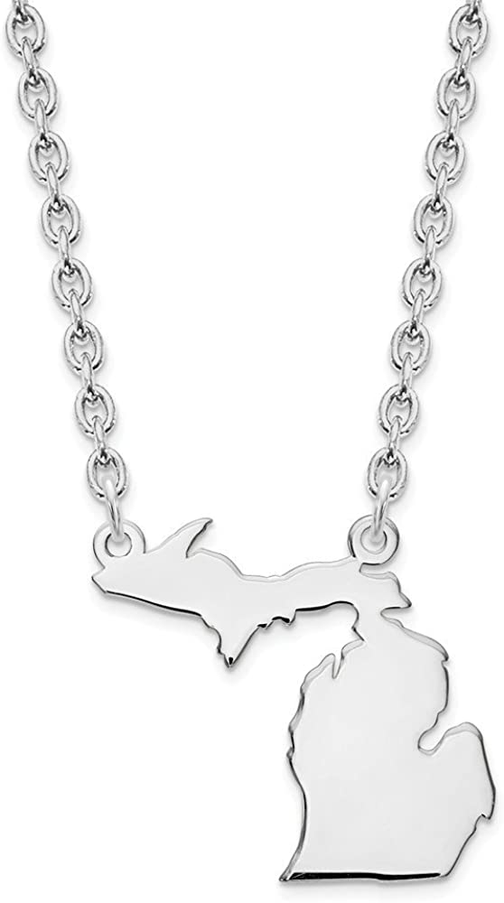 Michigan State Necklace Clear Michigan Gold Necklace Michigan State Love Necklace Michigan Necklace With Heart MI Pendant
