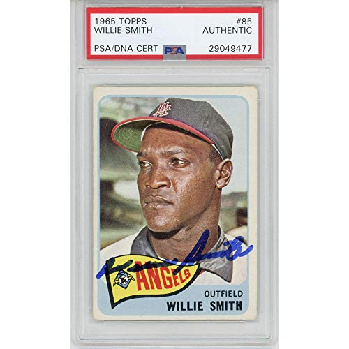 Willie Smith Los Angeles Angels Autographed 1965 Topps #85 Card - PSA/DNA Certified - Baseball Slabbed Vintage Cards from Sports Memorabilia
