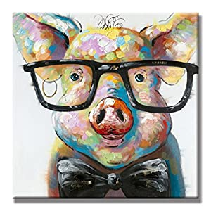 SEVEN WALL ARTS - 100% Hand Painted Oil Painting Cute Pig Canvas Painting Large Size Stretched Art Ready to Hang for Living Room 40 x 40 Inch,