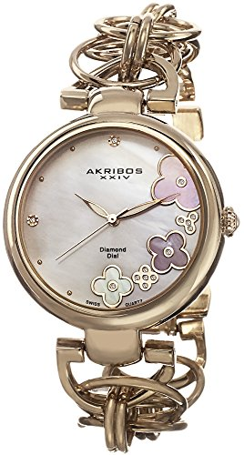 Akribos XXIV Women's AK645YG Lady Diamond Swiss Quartz Diamond Mother-of-Pearl Flower Gold-tone Circle Link Bracelet Watch (Link Circle Bracelet Watch)