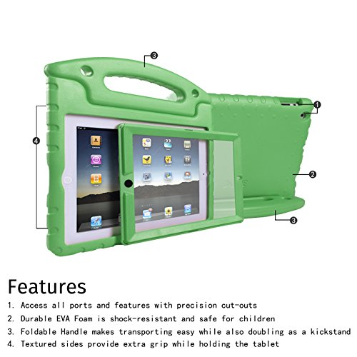 HDE Case for iPad 2 3 4 Kids Shockproof Bumper Hard Cover Handle Stand with Built in Screen Protector for Apple iPad 2nd 3rd 4th Generation (Green)