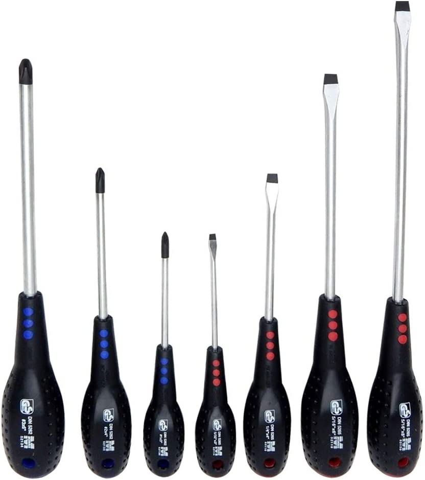7 PK Professional Screwdriver Set, Color Coded, Phillips & Flat Blade #52190.