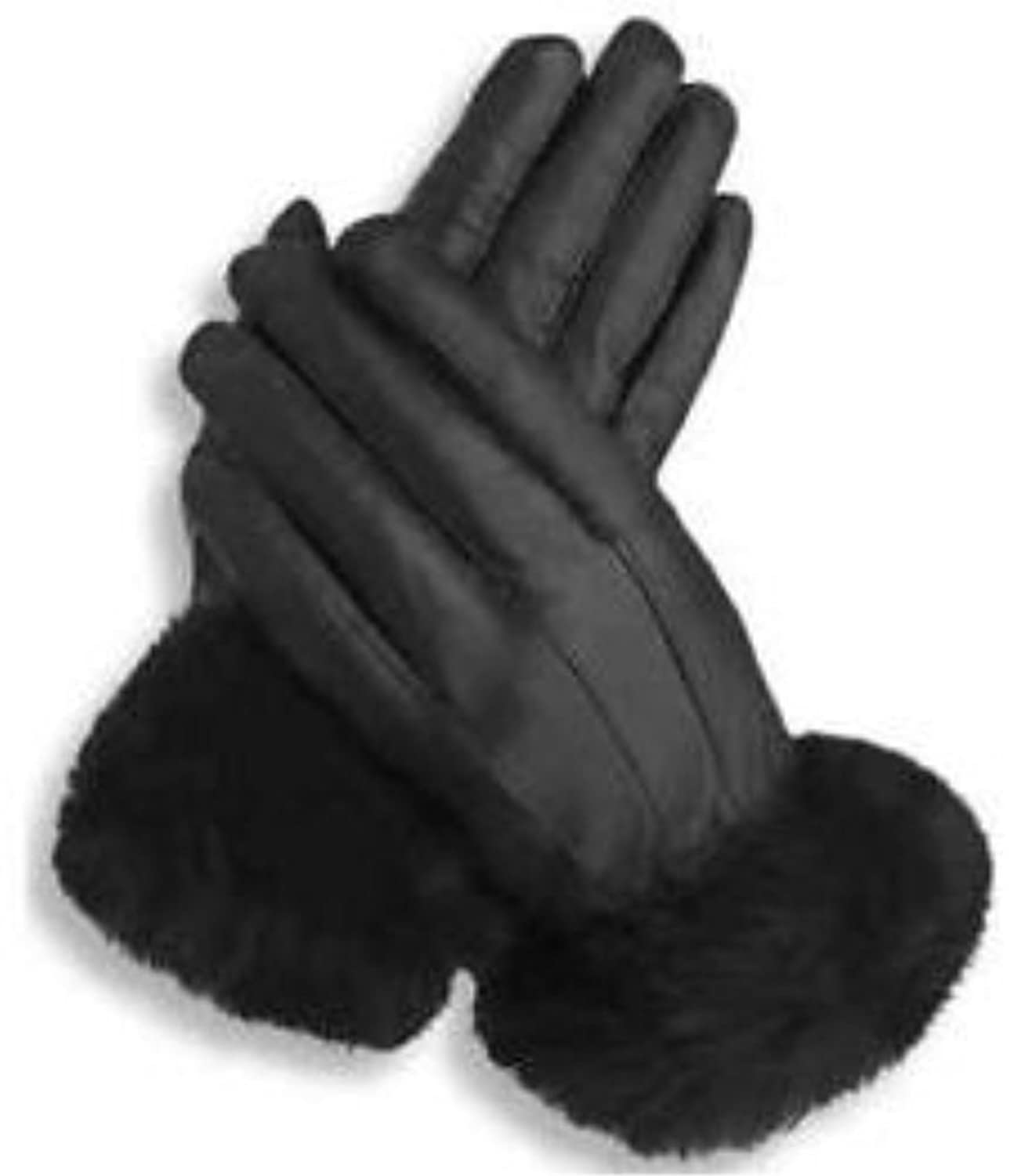 Womens black leather gloves uk - Welch Co Quality Soft Black Leather Fur Cuff Gloves