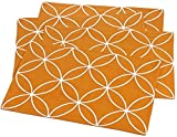 """Unique & Custom {13'' x 19'' Inch} Set Pack of 4 Rectangle """"Flat & Smooth Texture"""" Large Table Placemats Made of Flexible Polyester w/ Modern Swirled Vibrant Tile Design [White & Orange Color]"""