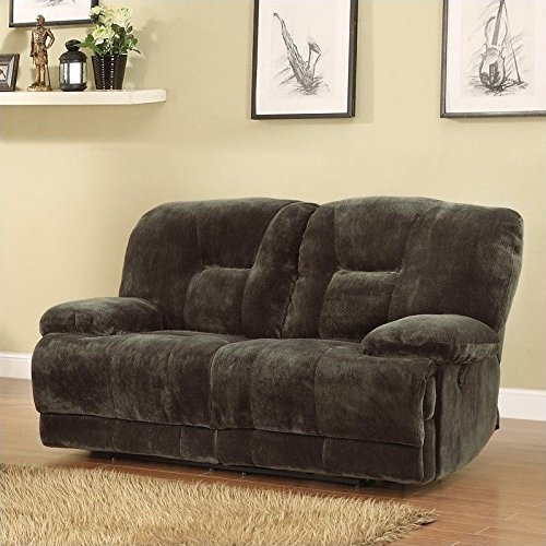 Homelegance 9723-2PW Upholstered Power Double Reclining Love Seat, Dark Brown, Textured Plush Microfiber
