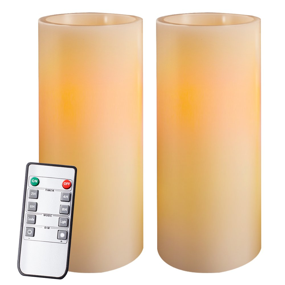 Homemory 9'' Amber Yellow Light Flameless Candles Battery Operated LED Pillar Real Wax Flickering Unscented Candles with Timer and 10-key Remote, Set of 2, for Gifts and Decorations