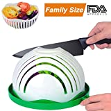 : Salad Cutter Bowl, Family-Sized Salad Chopper Bowl Maker Fast Fruit Vegetable Cutter Bowl, Salad Slicer Strainer Cutting Board All in One for Kitchen
