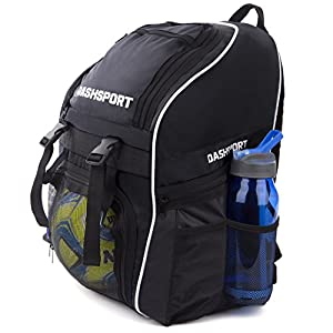 Soccer Backpack - Basketball Backpack - Youth Kids Ages 6 and Up - With Ball Compartment - All Sports Bag Gym Tote Soccer Futbol Basketball Football Volleyball by DashSport