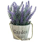 MyGift Artificial Lavender Plant, Faux Flower in Rustic Wood Garden Bucket Planter Pot, Brown