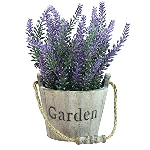 MyGift Artificial Lavender Plant, Faux Flower in Rustic Wood Garden Bucket Planter Pot 2