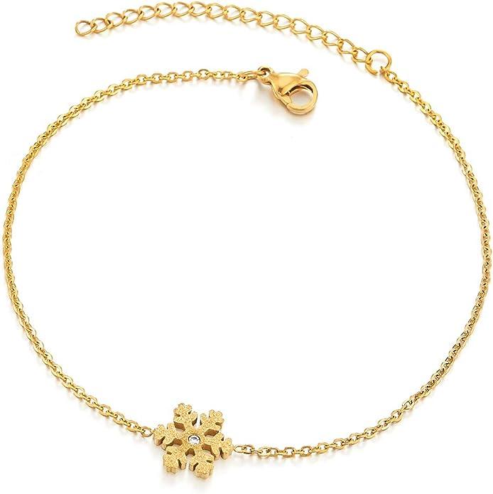 COOLSTEELANDBEYOND Acier Or Femme Bracelets de Cheville avec Satin Rose Zircone Cubique R/églable