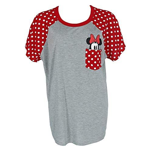 Disney Plus Size Fashion Contrast Shoulder Top Minnie Pocket Gray Red