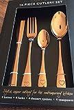 Contemporary Stylish Copper Cutlery 16 Piece Knife Fork Teaspoon Spoon Kitchen
