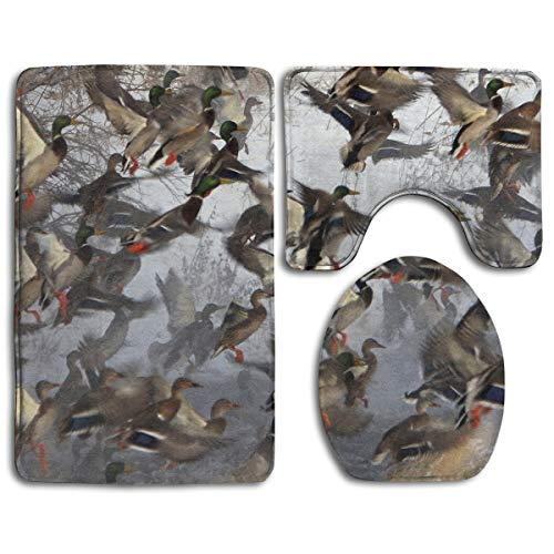 Birds Picture Bathroom Rug Sets 3 Piece Non-Slip Floor Mat Contour Rug Toilet Lip Cover]()