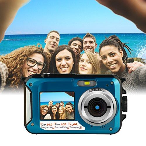 Waterproof Underwater Digital Camera,24MP 1080P Dual Screen Point and Shoot Digital Video Recorder Cameras-Blue