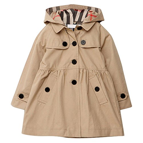 Tueenhuge Little Girls Trench Coat Pleated Spring Fall Cotton Jacket Outwear with Hoodie (3-4Y, Beige) Button Down Trench Coat