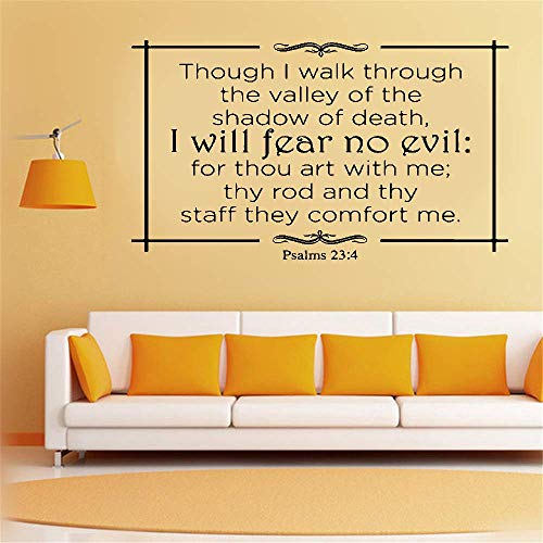 Quote Vinyl Wall Decal Sticker Art Removable Words Home Decor Though I Walk Through The Valley of The Shadow of Death I Will Fear No Evil Psalm 23:4 for Living Room Bedroom Wall Sticker]()