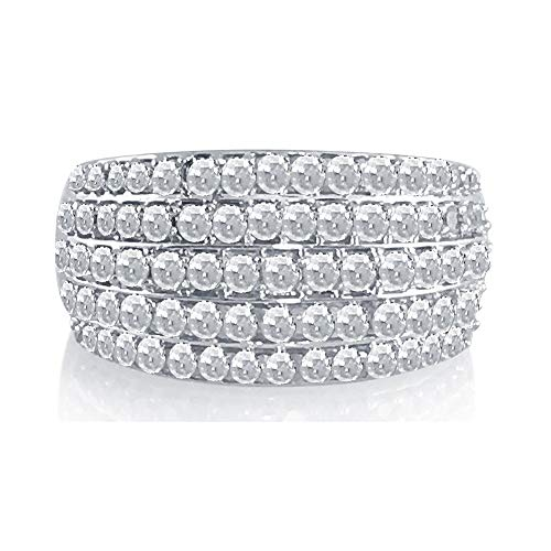 0.90 Cttw Round Cut White Natural Diamond Dome Engagement Wedding Band Ring Sterling Silver (G-H Color, I Clarity, Size-6.5)