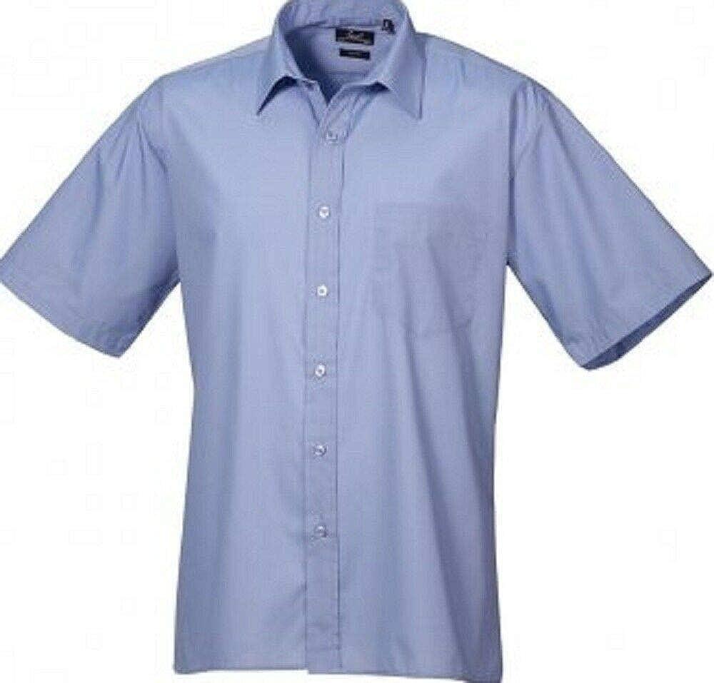 2 Pack Premier Mens Short Sleeve Poplin Shirt Business Office Workwear Plain Top