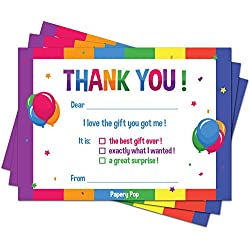 30 Kids Thank You Cards with Envelopes (30 Pack) - Kids Birthday Thank You Notes