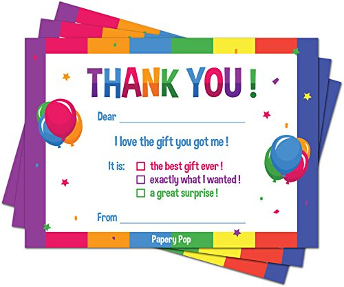 30 Kids Thank You Cards (with Envelopes) - Kids Birthday Thank You Notes