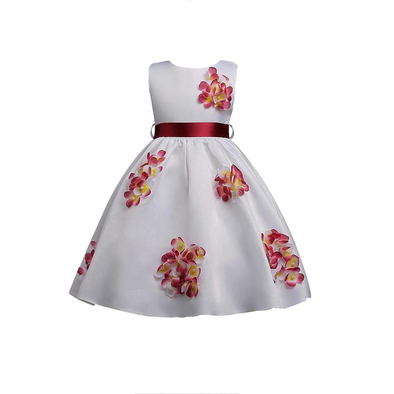 7300f17a6dbc4 YuanDian Fille Petite Enfant Fleurs Fete Robes Élégant Sans Manches  Cocktail Anniversaire Mariage Princesse Robe De Soirée 3-16 Ans