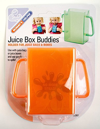2-PACK Mommys Helper Juice Box Buddies Holder for Juice Bags and Boxes, Colors May Vary