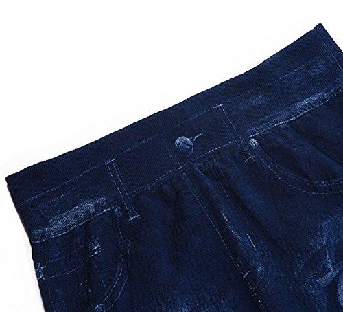de de Dril Polainas Algodón Wa Azul Vaqueros Pantalones Impresión 1pc Azul Mujer Oscuro Da Elástica Oscuro para xwnB8pIwq
