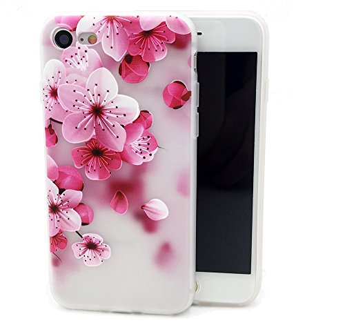 k Flower Design Printed Floral Matte Dropproof TPU Soft Cover for Girls Kids Rose Blossoms Pattern Clear Bumper Skin Back Case Compatible with iPhone 6S for iPhone 6,Petals ()