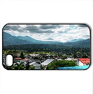 Beautiful View - Case Cover for iPhone 4 and 4s (Houses Series, Watercolor style, Black)