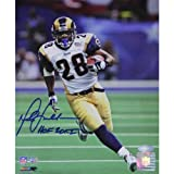 NFL St. Louis Rams Marshall Faulk Rushing Head on White Jersey Vertical Photograph, 8x10-Inch