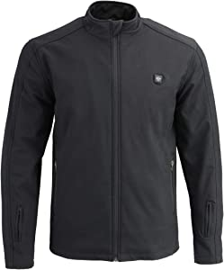 Milwaukee Leather MPM1762SET Men's Black Heated Soft Shell Jacket with Included Battery Pack - Medium