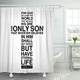 TOMPOP Shower Curtain Black Scripture Christian Cross with Bible Verse Backgrounde Calligraphy Waterproof Polyester Fabric 72 x 72 inches Set with Hooks