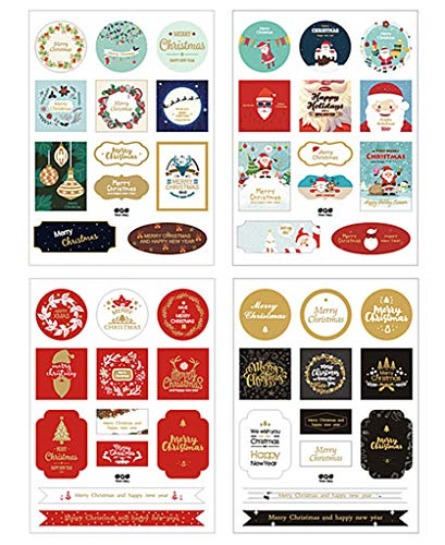 Kinteshun Christmas Sealing Sticker,Self-adhensive Xmas DIY Decorative Gift Packing Wrapping Envelope Seals Baking Label Paster Decals Sticker(8 Sheets,96pcs) ()