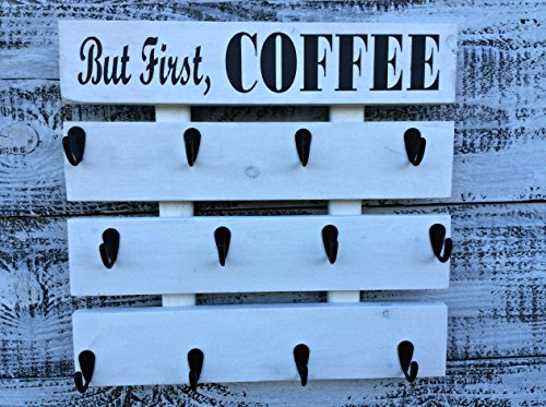 Rustic Pallet Wood Coffee Cup Rack your Color Choice