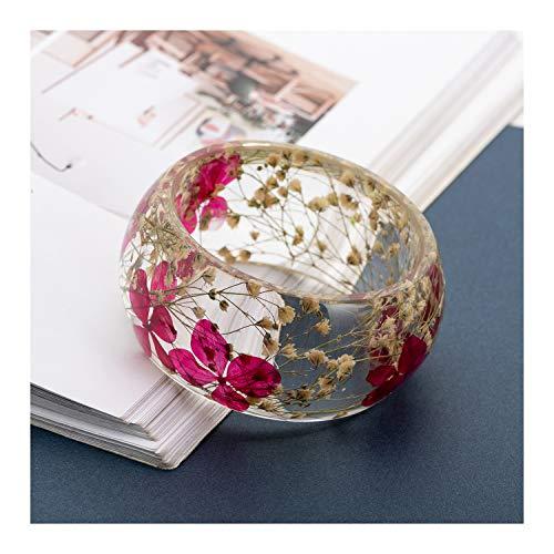 IDesign Nature Dry Flower Resin Bracelet Bangle for Women Girls in Spring Summer Gift for Mother's Day (Sexy Pink)