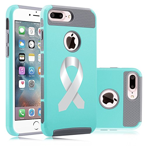 For Apple iPhone (7 Plus) Shockproof Impact Hard Soft Case Cover Diabetes Brain Cancer Parkinson's Disease Lung Cancer Color Awareness Ribbon (Teal-Gray) ()