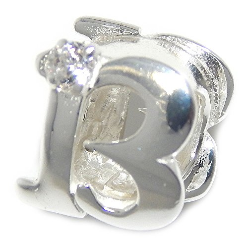 Pro Jewelry 925 Solid Sterling Silver Number '13' with Clear Crystal Charm Bead - Number 13 Pandora Charm