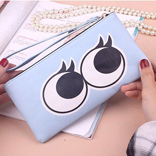 Wallet PU Colors Long 6 Dxlta Casual Card Zipper Cartoon Lady Bag Printed Clutch Blue Leather Purse Holder Women vaaxpAn