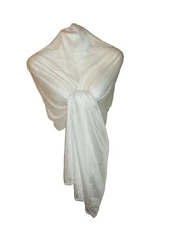 Etole Chale de Soirée - Voile Translucide Pailleté Blanc  Amazon.fr   Vêtements et accessoires 260baf17036