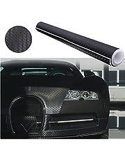 Audew Autofolie Carbon Folie Aufkleber 3D DIY Film Vinyle 12''x60'' Auto Flexibel Fiber Carbon Fiber Schwarz