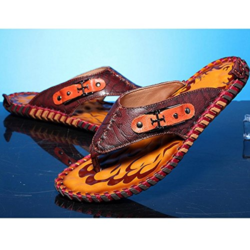 2016 Dark for Slippers Male New Brown Casual Sandals Fashion Leather Slippers Summer PINUO Men T7wadqT