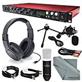 Focusrite Scarlett 18i20 USB 2.0 Audio Interface Deluxe Kit W/ Cables, Marantz Professional Large-Diaphragm Condenser Microphone, Samson Stereo Headphones, FiberTique Cleaning Cloth