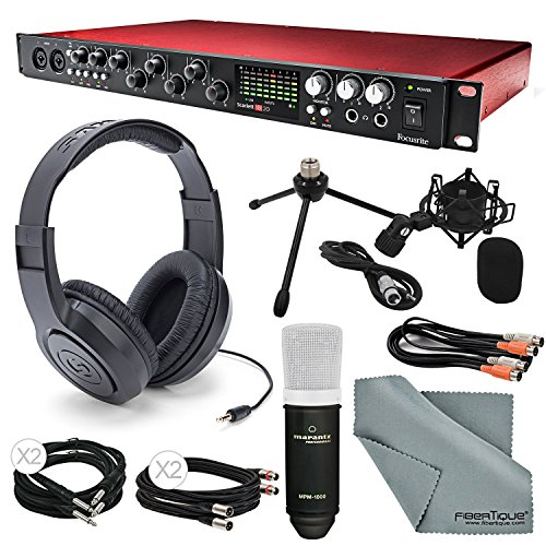 Focusrite Scarlett 18i20 USB 2.0 Audio Interface Deluxe Kit W/ Cables, Marantz Professional Large-Diaphragm Condenser Microphone, Samson Stereo Headphones, FiberTique Cleaning Cloth by Focusrite